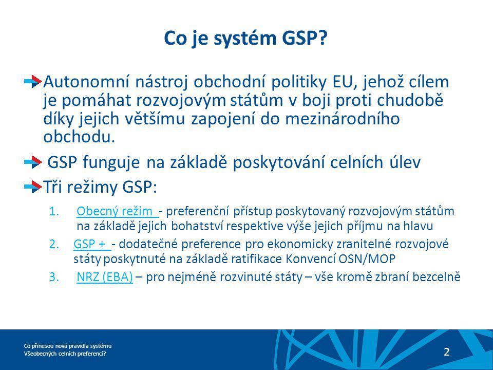 Co přinesou nová pravidla systému Všeobecných celních preferencí? 2 Co je systém GSP? Autonomní nástroj obchodní politiky EU, jehož cílem je pomáhat r
