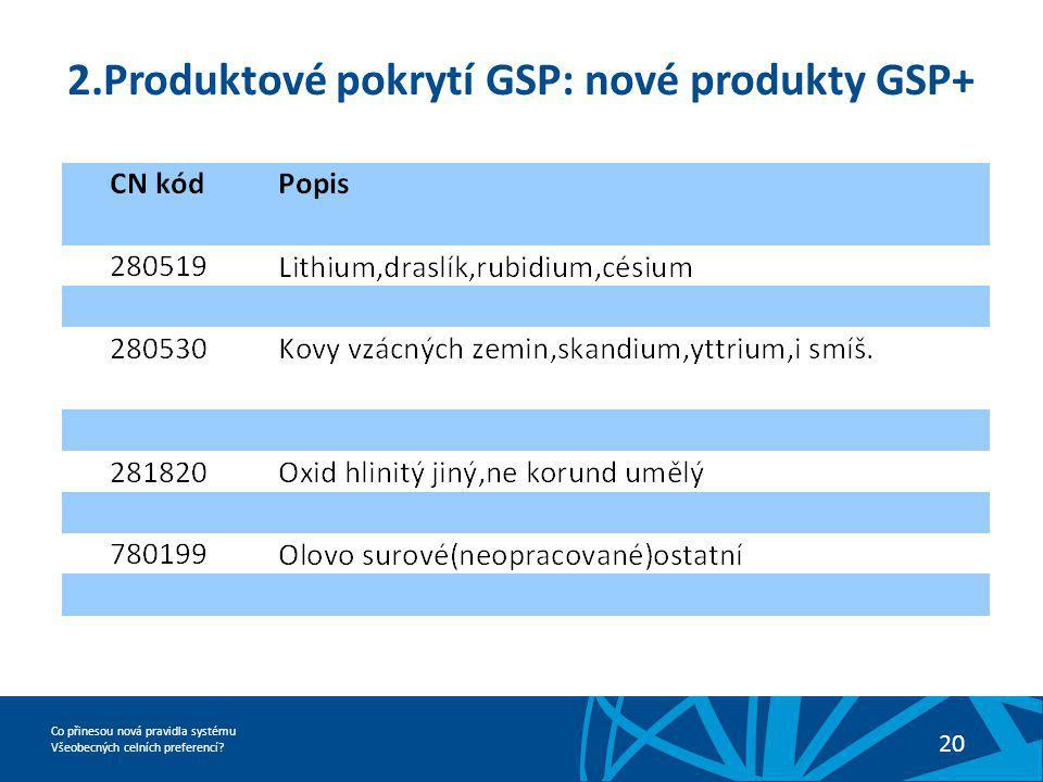 Co přinesou nová pravidla systému Všeobecných celních preferencí? 20 2.Produktové pokrytí GSP: nové produkty GSP+