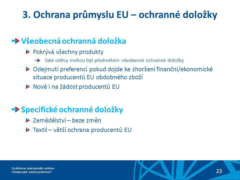 Co přinesou nová pravidla systému Všeobecných celních preferencí? 23 3. Ochrana průmyslu EU – ochranné doložky Všeobecná ochranná doložka Pokrývá všec