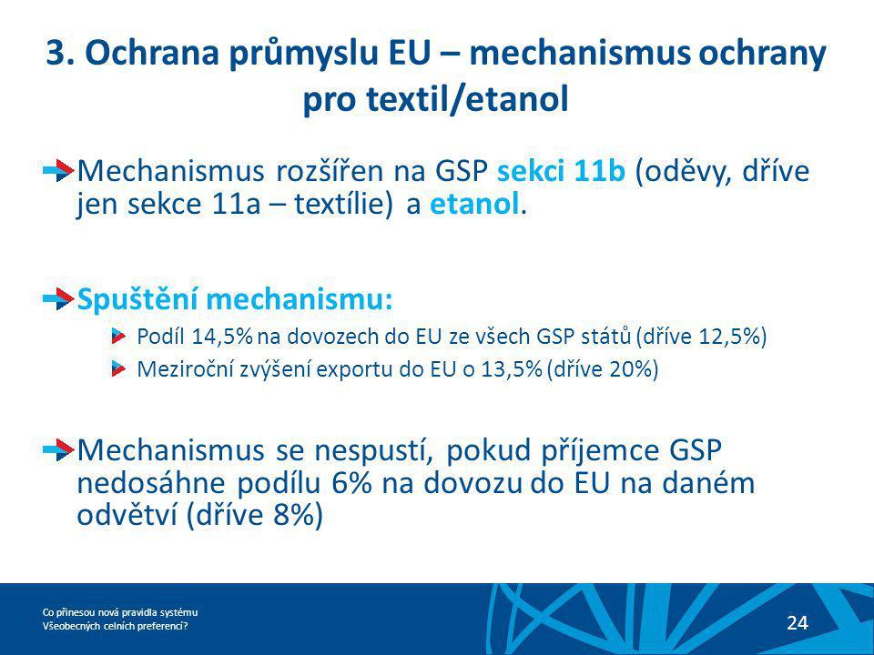Co přinesou nová pravidla systému Všeobecných celních preferencí? 24 3. Ochrana průmyslu EU – mechanismus ochrany pro textil/etanol Mechanismus rozšíř