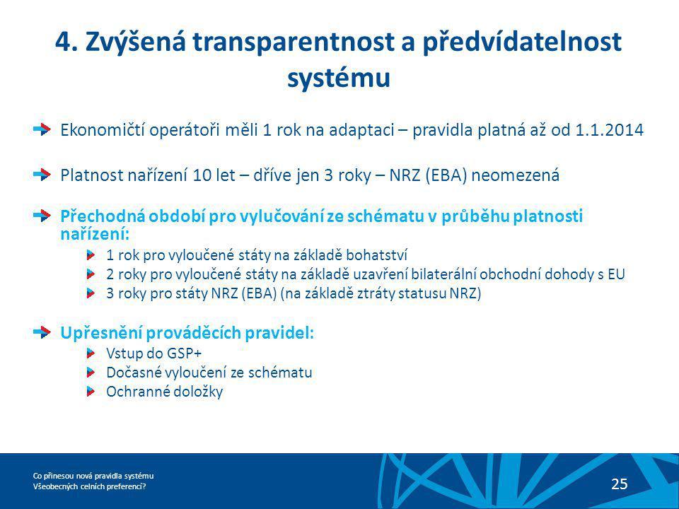 Co přinesou nová pravidla systému Všeobecných celních preferencí? 25 4. Zvýšená transparentnost a předvídatelnost systému Ekonomičtí operátoři měli 1