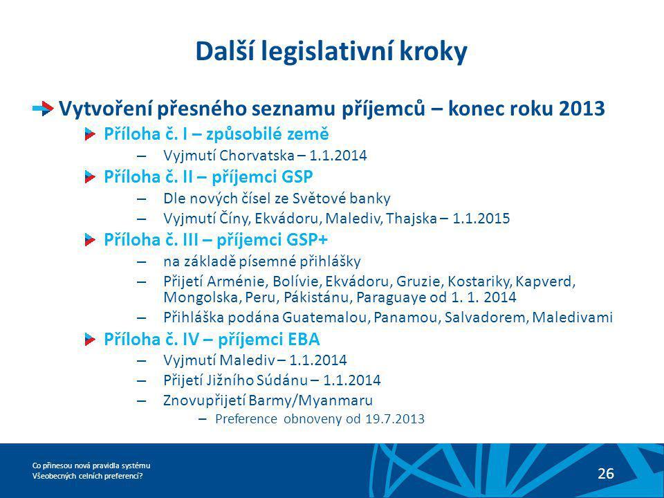 Co přinesou nová pravidla systému Všeobecných celních preferencí? 26 Další legislativní kroky Vytvoření přesného seznamu příjemců – konec roku 2013 Př