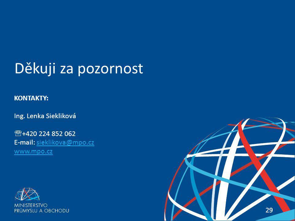Co přinesou nová pravidla systému Všeobecných celních preferencí? 29 Děkuji za pozornost KONTAKTY: Ing. Lenka Siekliková  +420 224 852 062 E-mail: si