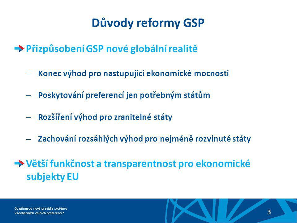Co přinesou nová pravidla systému Všeobecných celních preferencí? 3 Důvody reformy GSP Přizpůsobení GSP nové globální realitě – Konec výhod pro nastup