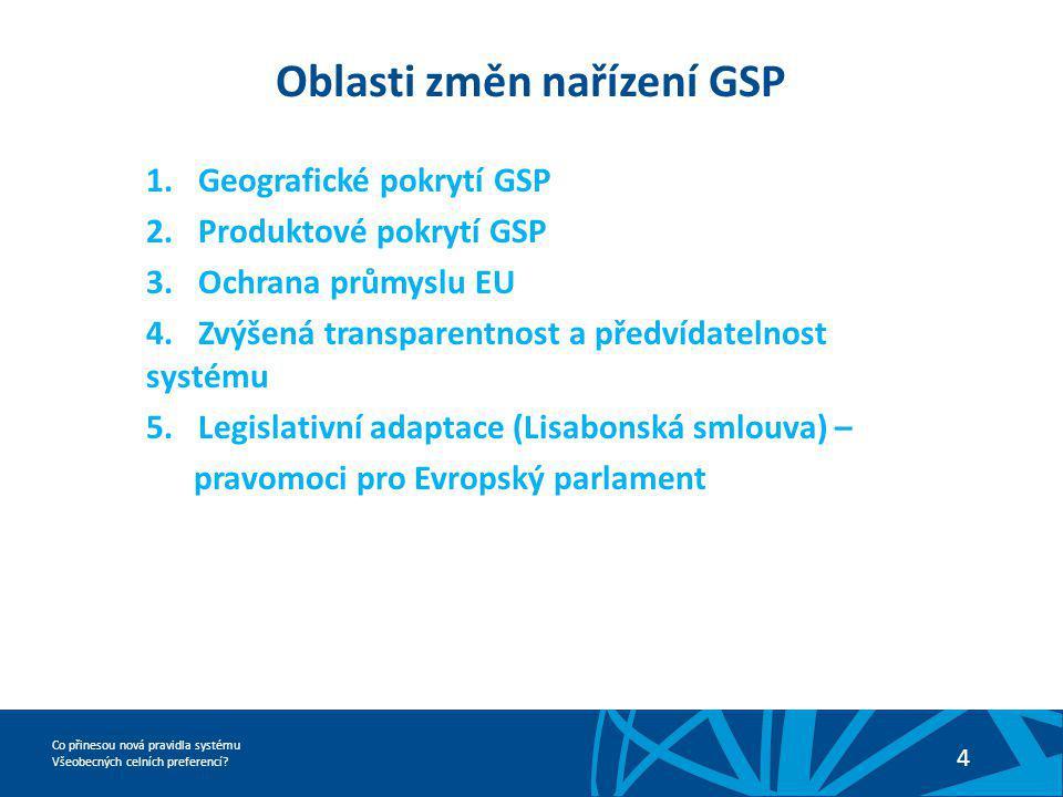 Co přinesou nová pravidla systému Všeobecných celních preferencí? 4 Oblasti změn nařízení GSP 1.Geografické pokrytí GSP 2.Produktové pokrytí GSP 3.Och