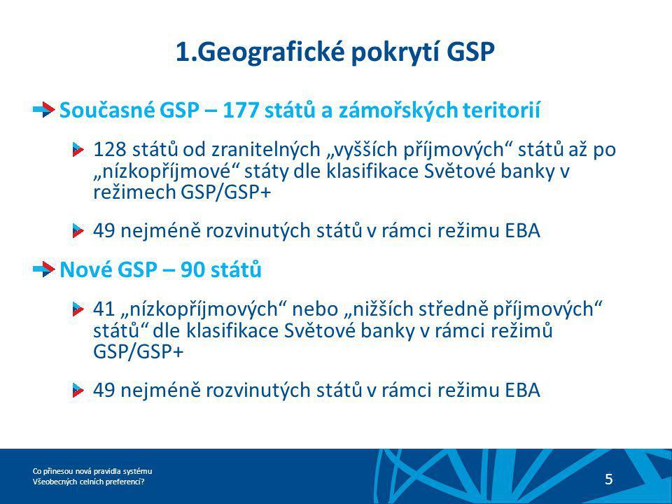 Co přinesou nová pravidla systému Všeobecných celních preferencí? 5 1.Geografické pokrytí GSP Současné GSP – 177 států a zámořských teritorií 128 stát