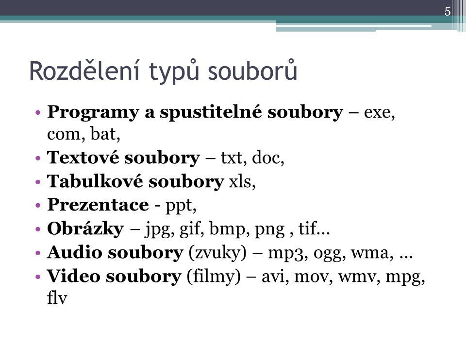 Rozdělení typů souborů Programy a spustitelné soubory – exe, com, bat, Textové soubory – txt, doc, Tabulkové soubory xls, Prezentace - ppt, Obrázky –