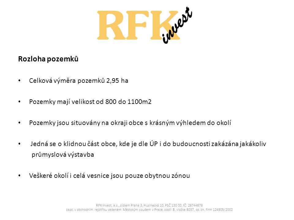Cena pozemků V případě odkupu pozemků jako celku nabízíme cenu 900,- Kč/m2 RFK Invest, a.s., sídlem Praha 3, Husinecká 10, PSČ 130 00, IČ: 26744678 zaps.