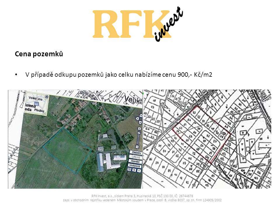 Mapa RFK Invest, a.s., sídlem Praha 3, Husinecká 10, PSČ 130 00, IČ: 26744678 zaps.