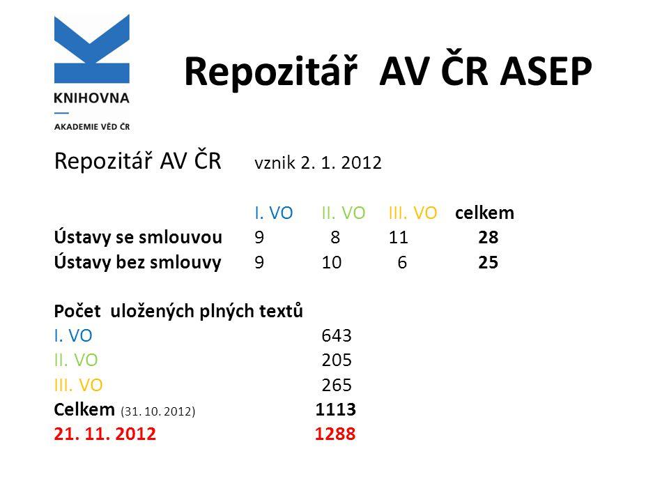 Repozitář AV ČR ASEP Repozitář AV ČR vznik 2. 1. 2012 I.