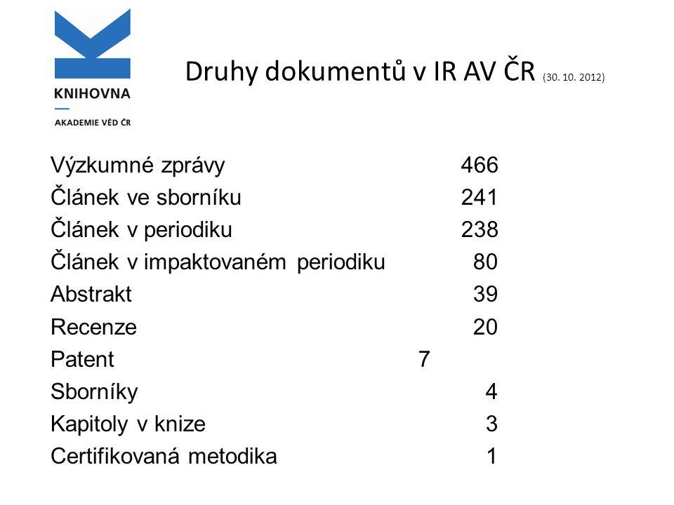 Druhy dokumentů v IR AV ČR (30. 10.