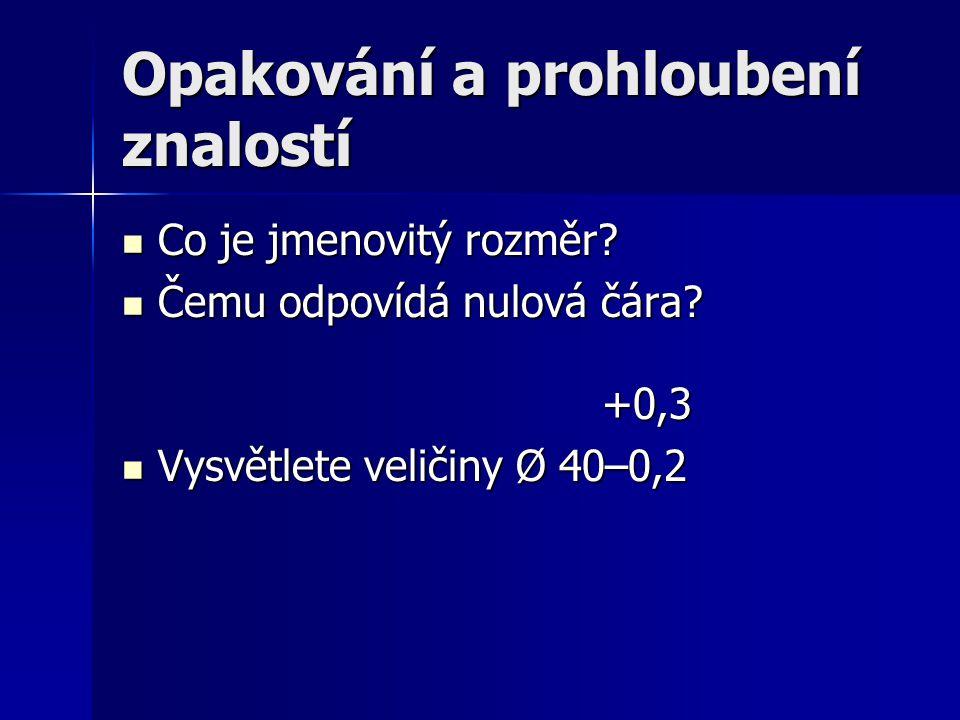 Opakování a prohloubení znalostí Co je jmenovitý rozměr? Co je jmenovitý rozměr? Čemu odpovídá nulová čára? +0,3 Čemu odpovídá nulová čára? +0,3 Vysvě