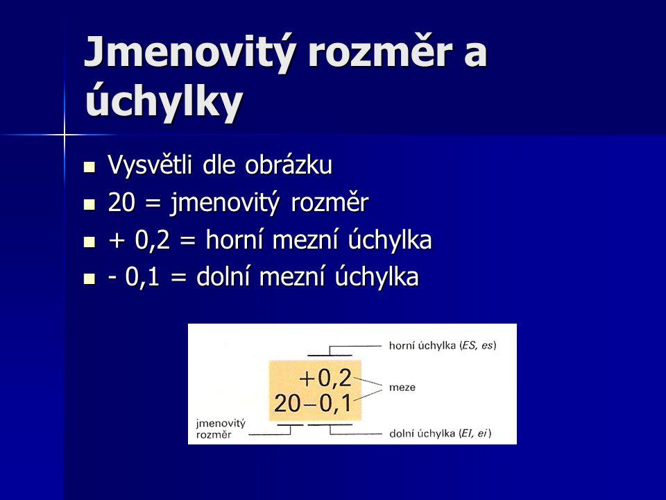 Jmenovitý rozměr a úchylky Vysvětli dle obrázku Vysvětli dle obrázku 20 = jmenovitý rozměr 20 = jmenovitý rozměr + 0,2 = horní mezní úchylka + 0,2 = h