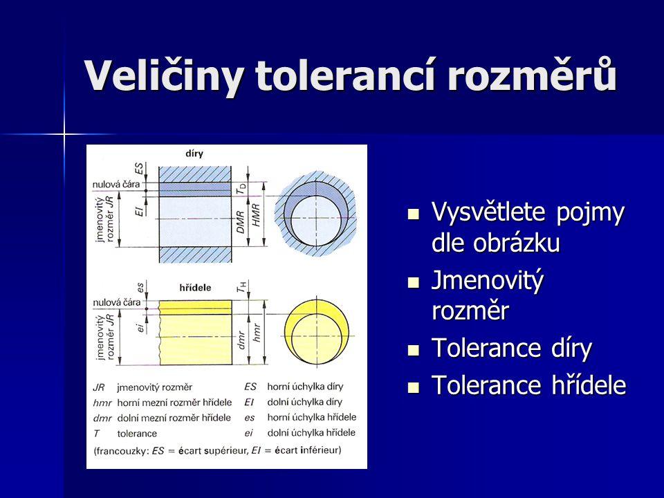 Veličiny tolerancí rozměrů Vysvětlete pojmy dle obrázku Vysvětlete pojmy dle obrázku Jmenovitý rozměr Jmenovitý rozměr Tolerance díry Tolerance díry T