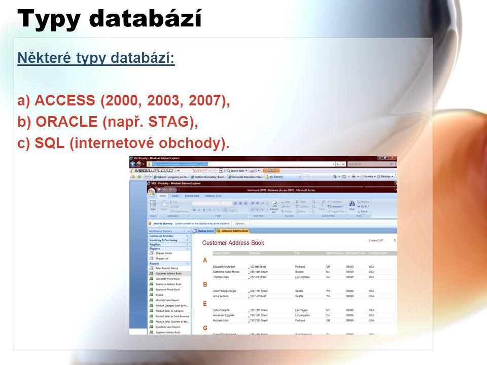 Typy databází Některé typy databází: a) ACCESS (2000, 2003, 2007), b) ORACLE (např. STAG), c) SQL (internetové obchody).