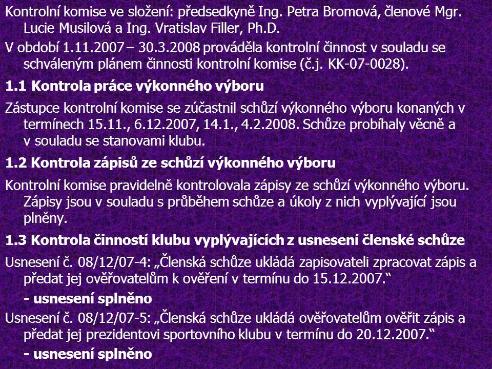 Kontrolní komise ve složení: předsedkyně Ing. Petra Bromová, členové Mgr.