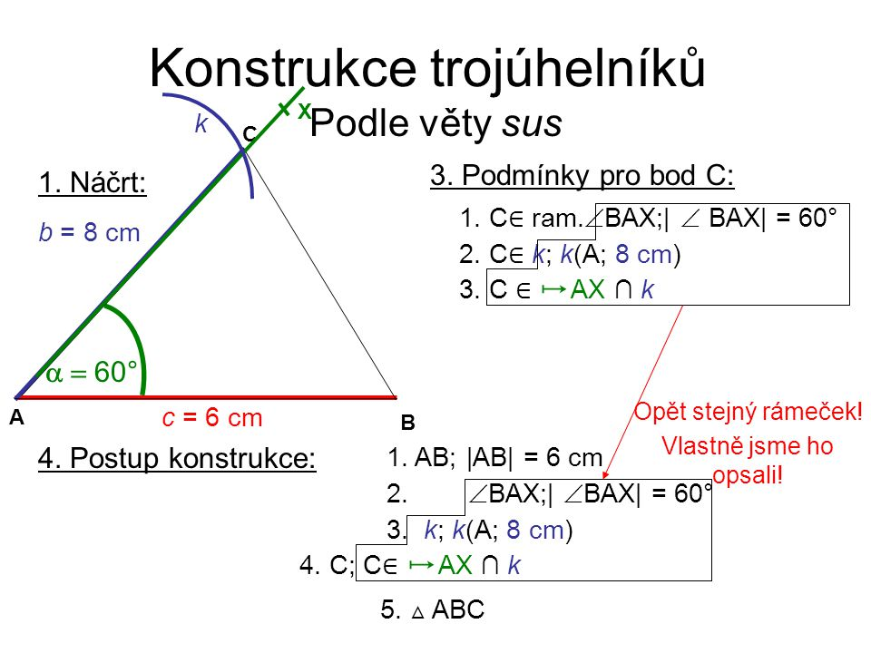Konstrukce trojúhelníků Podle věty sus 1. Náčrt:  60° C A B c = 6 cm b = 8 cm X k 3. Podmínky pro bod C: 2. C ∈ k; k(A; 8 cm) 1. C ∈ ram.  BAX;|
