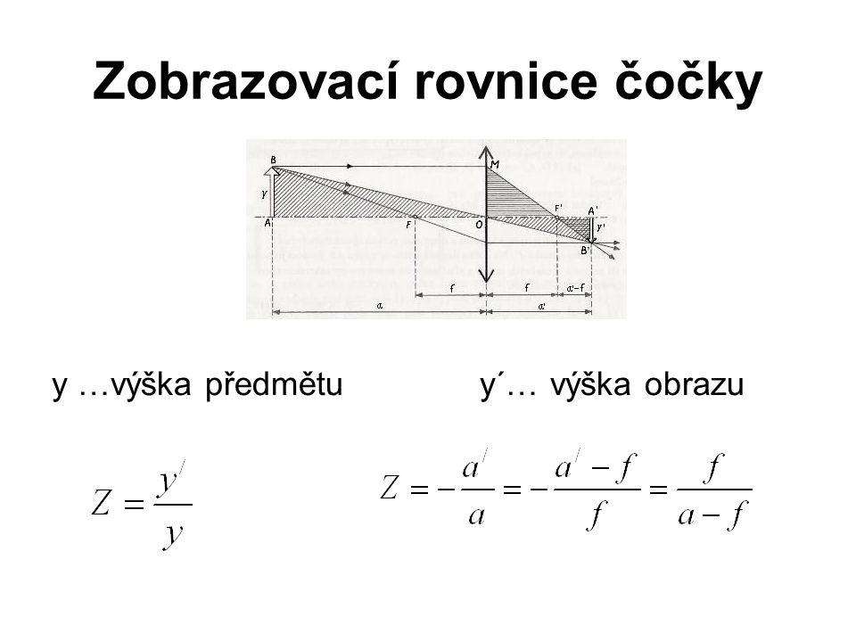 Zobrazovací rovnice čočky y …výška předmětuy´… výška obrazu