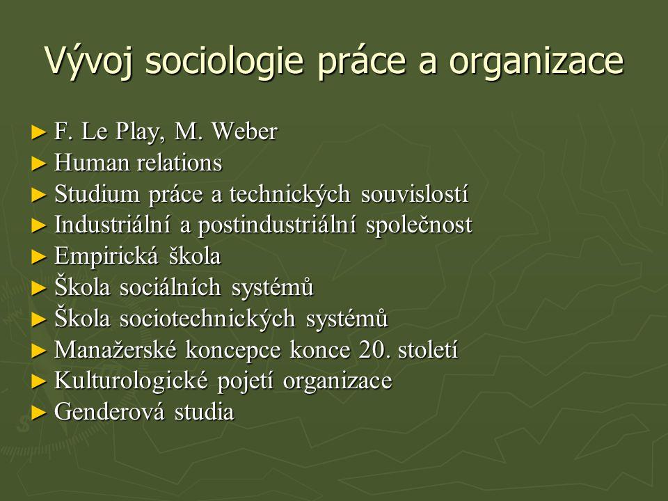 Vývoj sociologie práce a organizace ► F.Le Play, M.