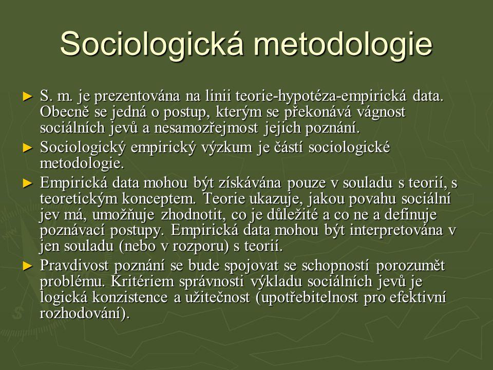 Sociologická metodologie ► S.m. je prezentována na linii teorie-hypotéza-empirická data.