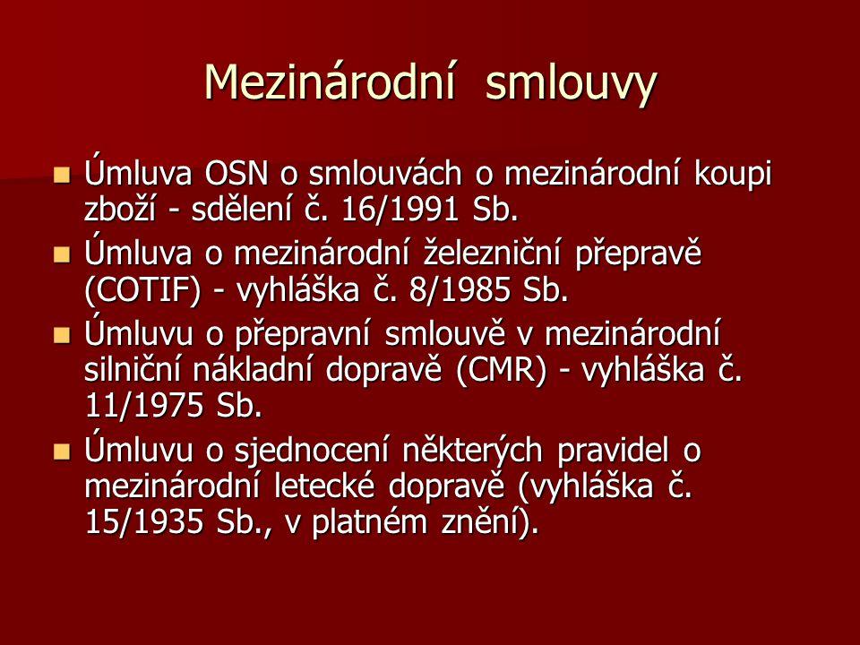 Mezinárodní smlouvy Úmluva OSN o smlouvách o mezinárodní koupi zboží - sdělení č.