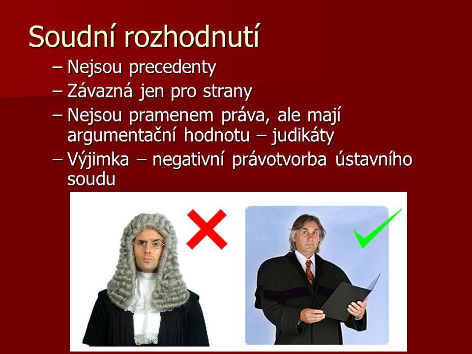 Soudní rozhodnutí –Nejsou precedenty –Závazná jen pro strany –Nejsou pramenem práva, ale mají argumentační hodnotu – judikáty –Výjimka – negativní právotvorba ústavního soudu