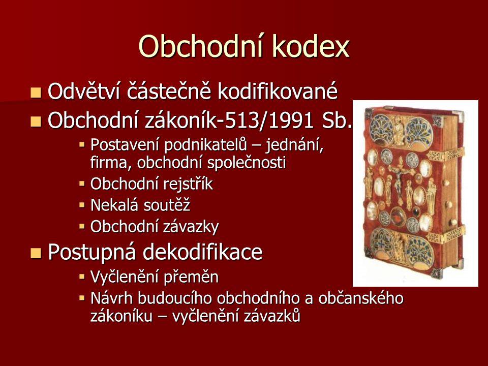 Obchodní kodex Odvětví částečně kodifikované Odvětví částečně kodifikované Obchodní zákoník-513/1991 Sb. Obchodní zákoník-513/1991 Sb.  Postavení pod