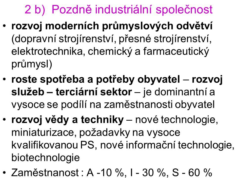 2 b) Pozdně industriální společnost rozvoj moderních průmyslových odvětví (dopravní strojírenství, přesné strojírenství, elektrotechnika, chemický a f