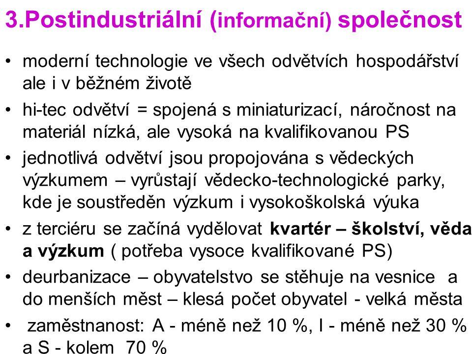 3.Postindustriální ( informační) společnost moderní technologie ve všech odvětvích hospodářství ale i v běžném životě hi-tec odvětví = spojená s minia