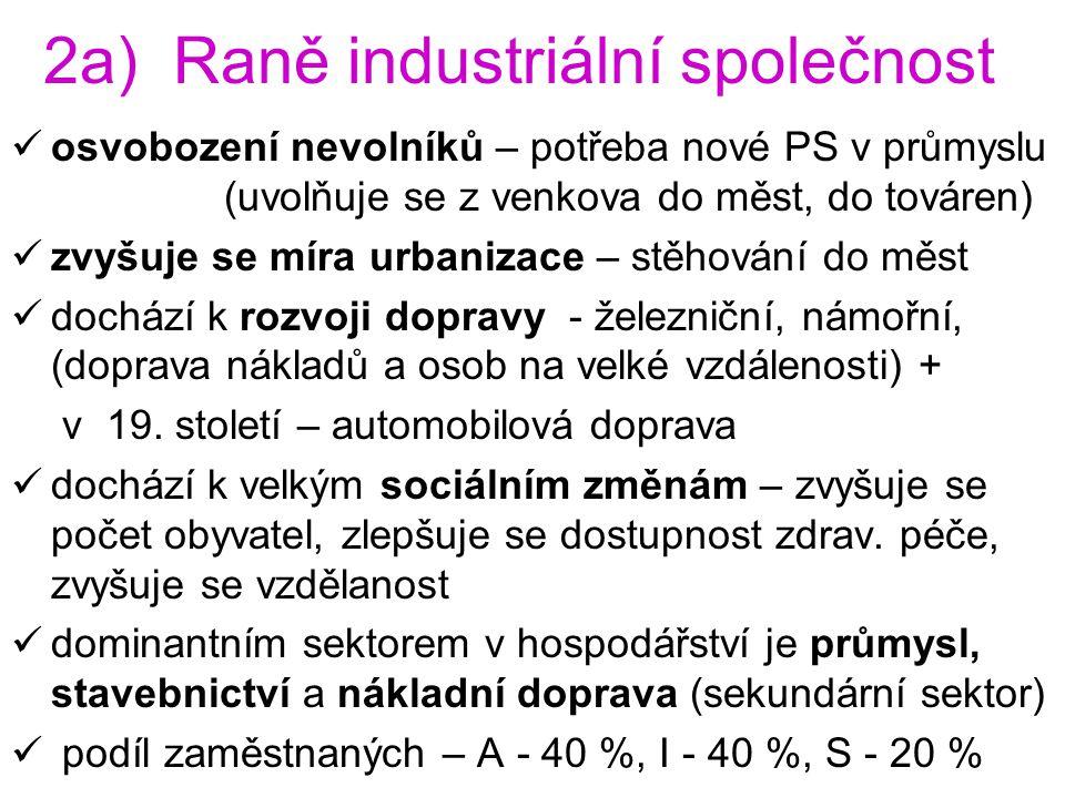 2a) Raně industriální společnost osvobození nevolníků – potřeba nové PS v průmyslu (uvolňuje se z venkova do měst, do továren) zvyšuje se míra urbaniz