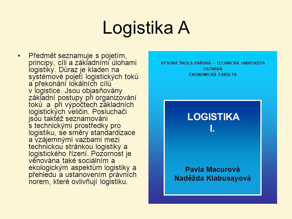Logistika A Předmět seznamuje s pojetím, principy, cíli a základními úlohami logistiky. Důraz je kladen na systémové pojetí logistických toků a překon