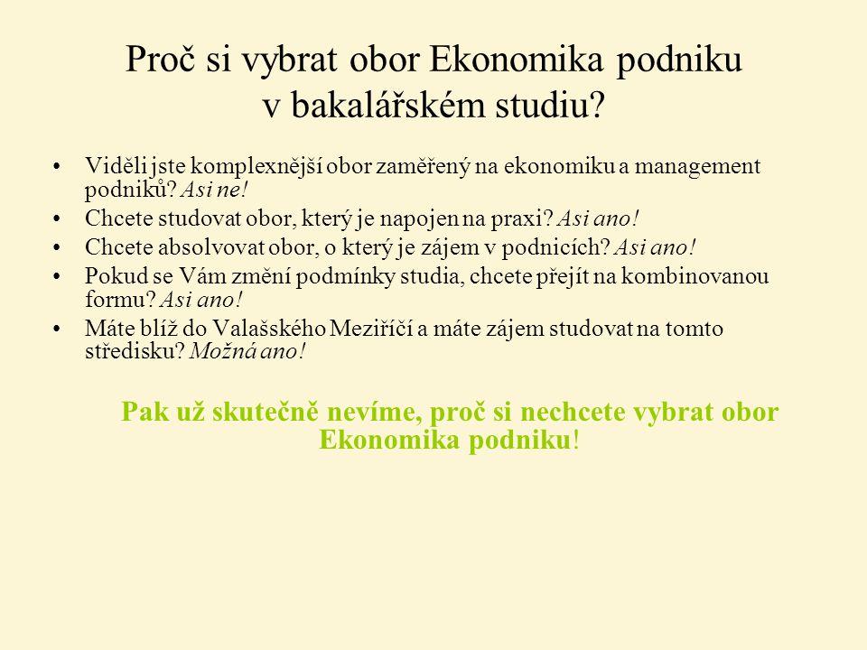 Proč si vybrat obor Ekonomika podniku v bakalářském studiu? Viděli jste komplexnější obor zaměřený na ekonomiku a management podniků? Asi ne! Chcete s