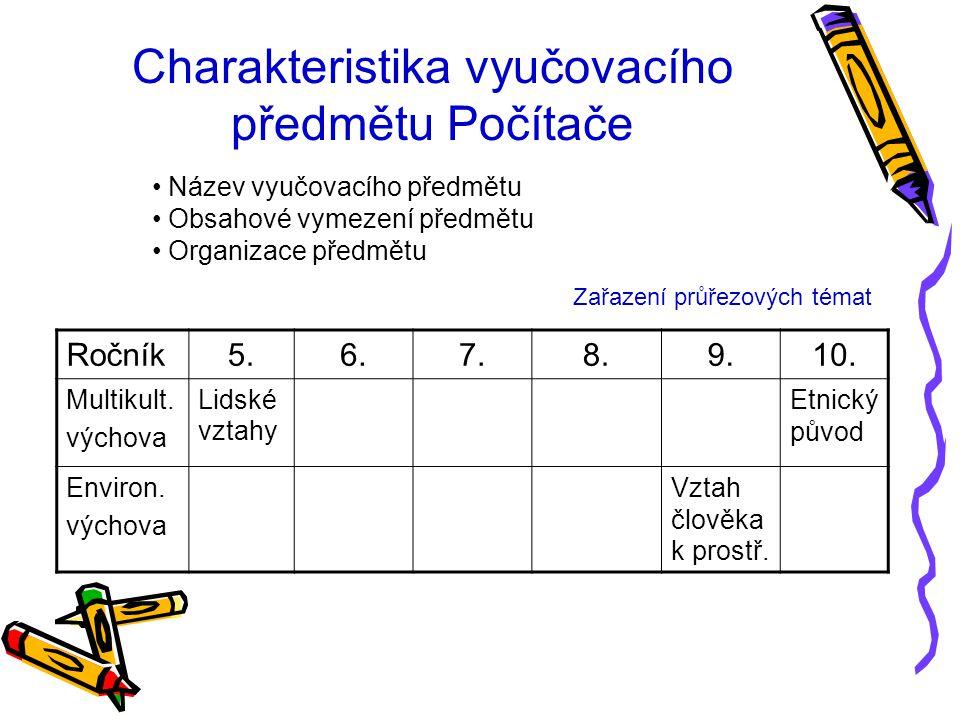 Charakteristika vyučovacího předmětu Počítače Ročník5.6.7.8.9.10.