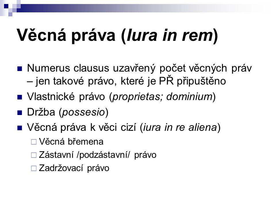Věcná práva (Iura in rem) Numerus clausus uzavřený počet věcných práv – jen takové právo, které je PŘ připuštěno Vlastnické právo (proprietas; dominiu