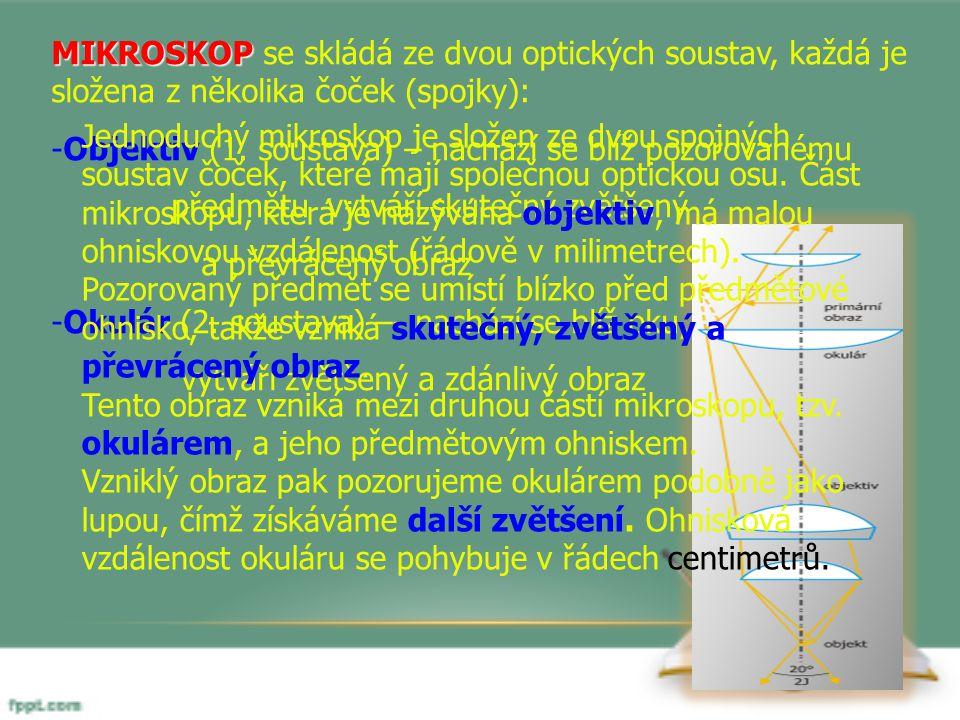 MIKROSKOP MIKROSKOP se skládá ze dvou optických soustav, každá je složena z několika čoček (spojky): -Objektiv (1.