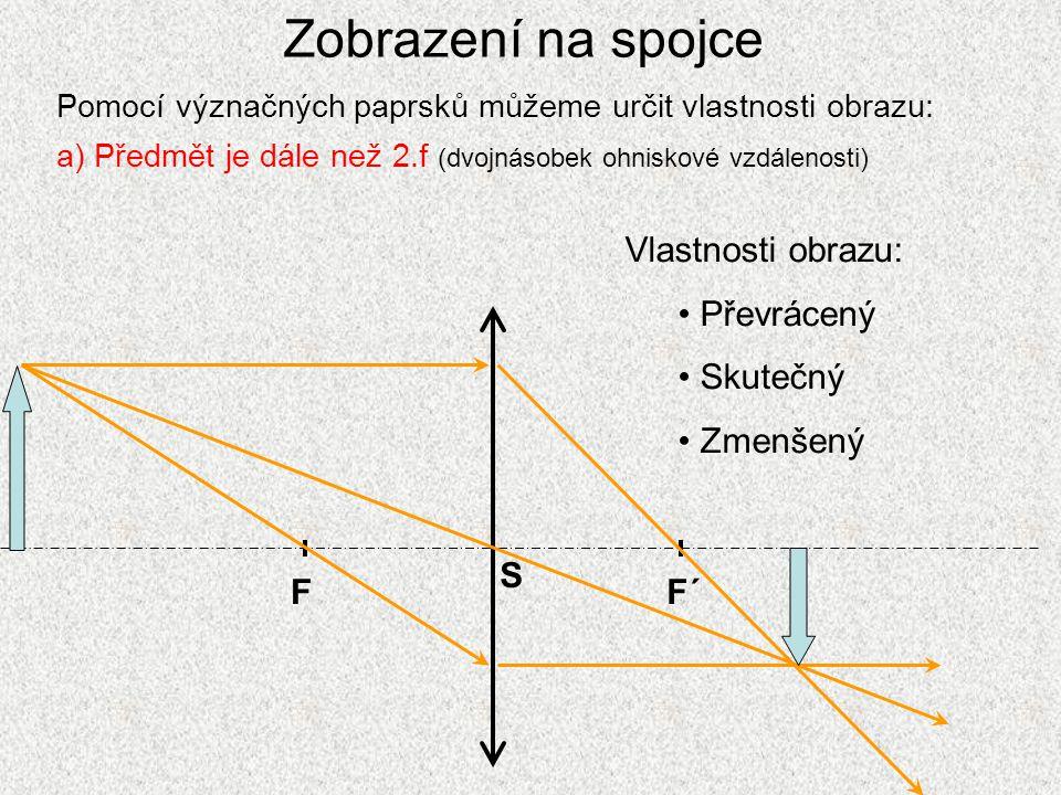 Zobrazení na spojce Pomocí význačných paprsků můžeme určit vlastnosti obrazu: a) Předmět je dále než 2.f (dvojnásobek ohniskové vzdálenosti) FF´ S Vla