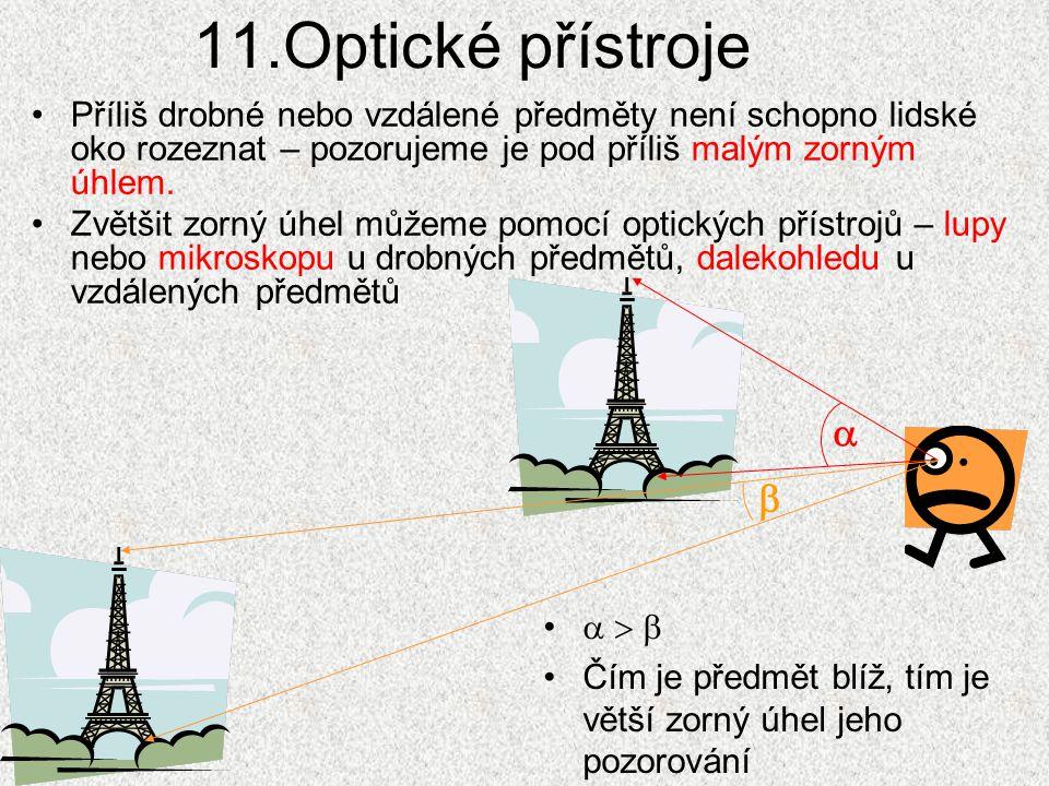 11.Optické přístroje Příliš drobné nebo vzdálené předměty není schopno lidské oko rozeznat – pozorujeme je pod příliš malým zorným úhlem. Zvětšit zorn