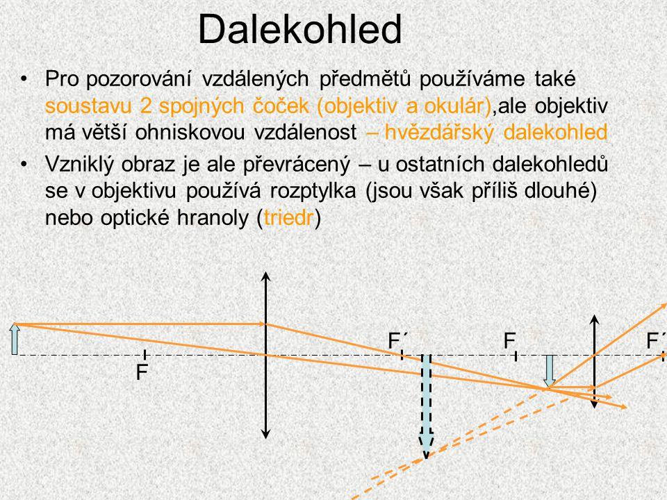 Dalekohled Pro pozorování vzdálených předmětů používáme také soustavu 2 spojných čoček (objektiv a okulár),ale objektiv má větší ohniskovou vzdálenost