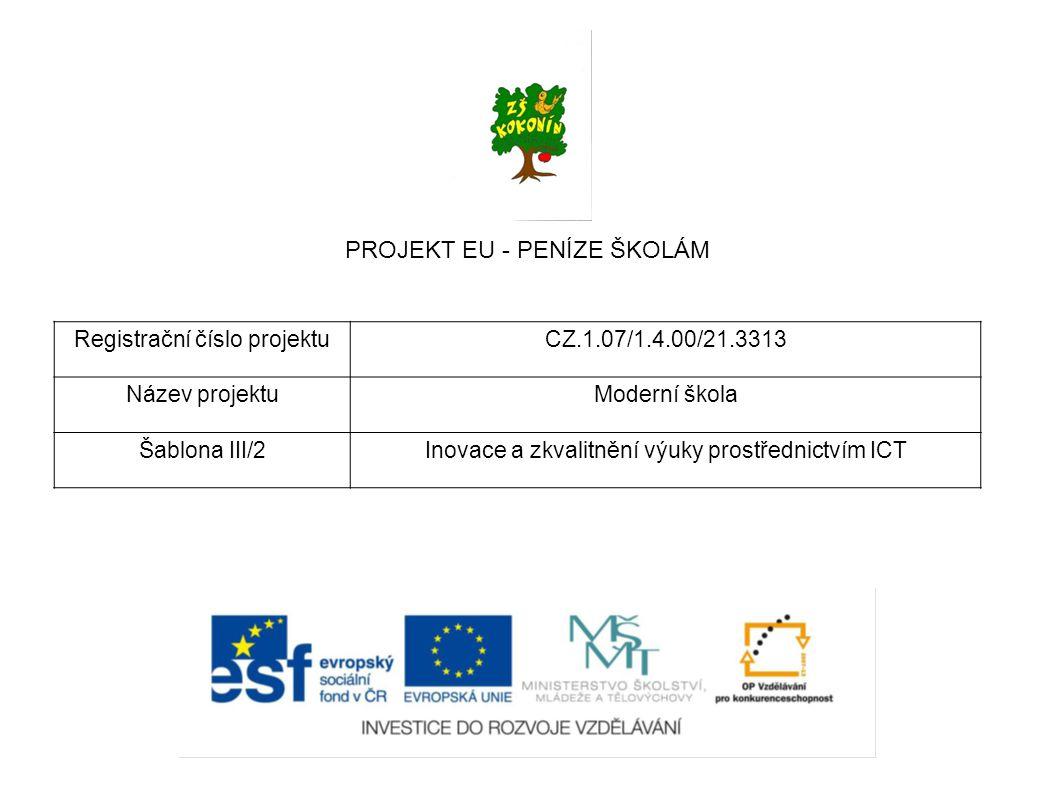 PROJEKT EU - PENÍZE ŠKOLÁM Registrační číslo projektuCZ.1.07/1.4.00/21.3313 Název projektuModerní škola Šablona III/2Inovace a zkvalitnění výuky prostřednictvím ICT