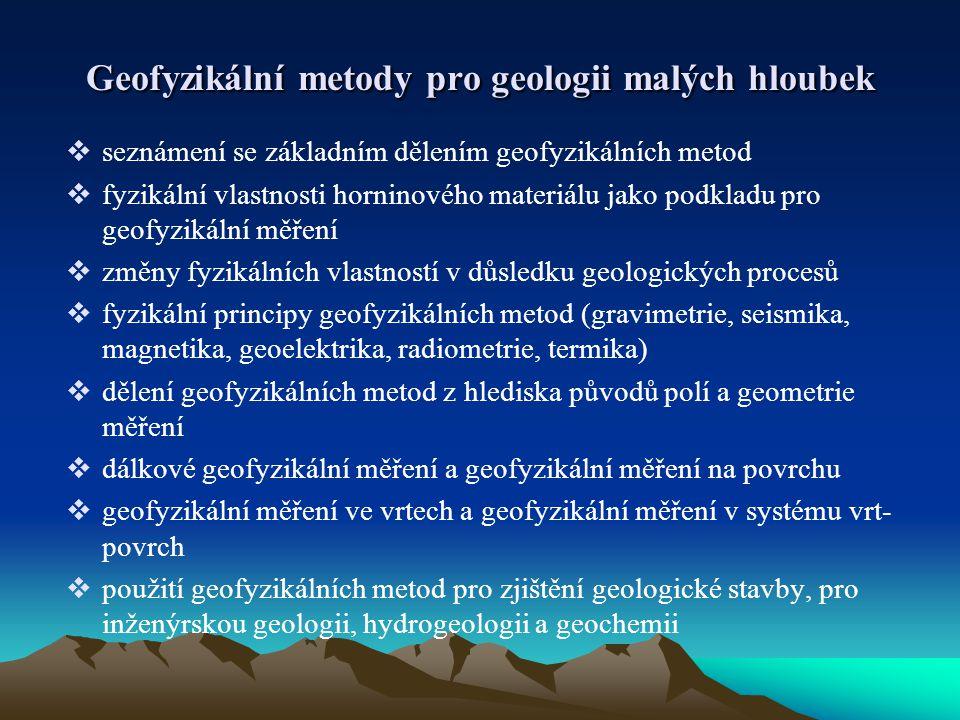 Geofyzikální metody pro geologii malých hloubek  seznámení se základním dělením geofyzikálních metod  fyzikální vlastnosti horninového materiálu jak