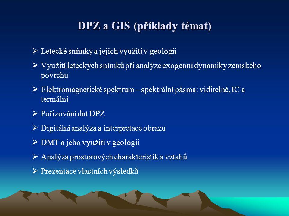 DPZ a GIS (příklady témat)  Letecké snímky a jejich využití v geologii  Využití leteckých snímků při analýze exogenní dynamiky zemského povrchu  El