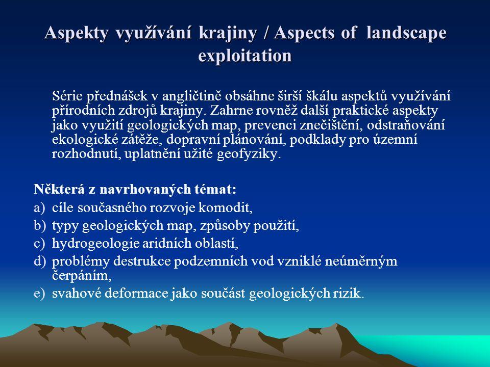 Série přednášek v angličtině obsáhne širší škálu aspektů využívání přírodních zdrojů krajiny. Zahrne rovněž další praktické aspekty jako využití geolo