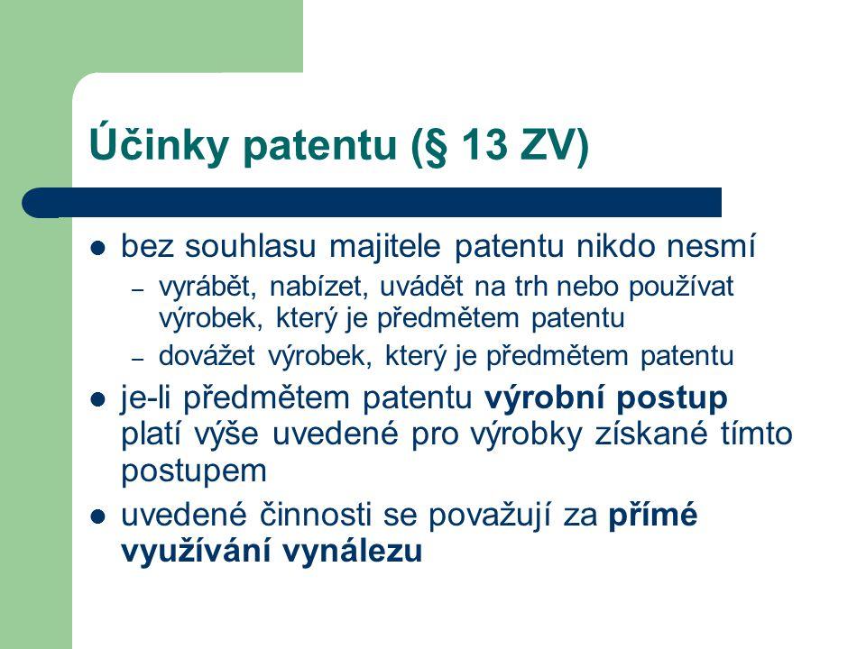 Účinky patentu (§ 13 ZV) bez souhlasu majitele patentu nikdo nesmí – vyrábět, nabízet, uvádět na trh nebo používat výrobek, který je předmětem patentu