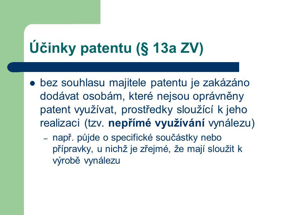 Účinky patentu (§ 13a ZV) bez souhlasu majitele patentu je zakázáno dodávat osobám, které nejsou oprávněny patent využívat, prostředky sloužící k jeho