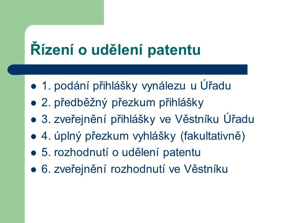 Řízení o udělení patentu 1. podání přihlášky vynálezu u Úřadu 2. předběžný přezkum přihlášky 3. zveřejnění přihlášky ve Věstníku Úřadu 4. úplný přezku