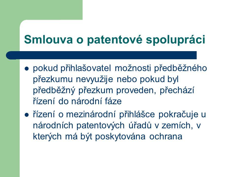 Smlouva o patentové spolupráci pokud přihlašovatel možnosti předběžného přezkumu nevyužije nebo pokud byl předběžný přezkum proveden, přechází řízení