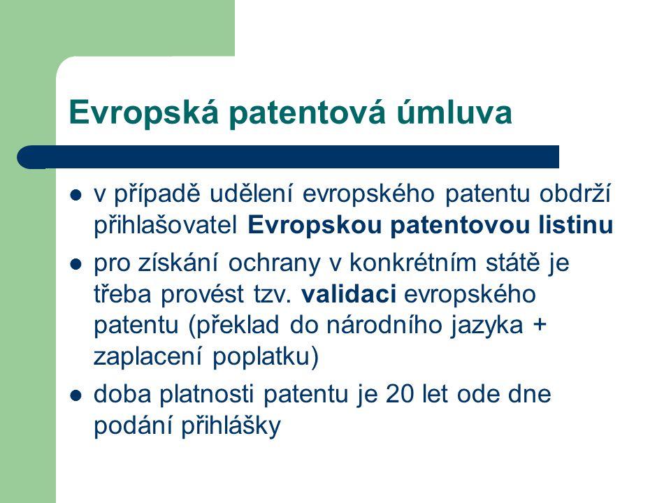 Evropská patentová úmluva v případě udělení evropského patentu obdrží přihlašovatel Evropskou patentovou listinu pro získání ochrany v konkrétním stát