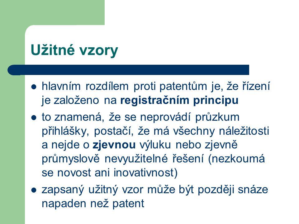 Užitné vzory hlavním rozdílem proti patentům je, že řízení je založeno na registračním principu to znamená, že se neprovádí průzkum přihlášky, postačí
