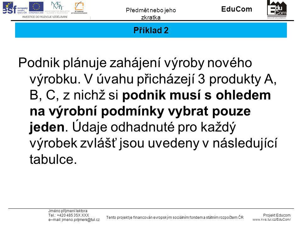 INVESTICE DO ROZVOJE VZDĚLÁVÁNÍ EduCom Projekt Educom www.kvs.tul.cz/EduCom/ Tento projekt je financován evropským sociálním fondem a státním rozpočtem ČR Předmět nebo jeho zkratka Jméno příjmení lektora Tel.: +420 485 35X XXX e–mail: jmeno.prijmeni@tul.cz Příklad 2 Podnik plánuje zahájení výroby nového výrobku.