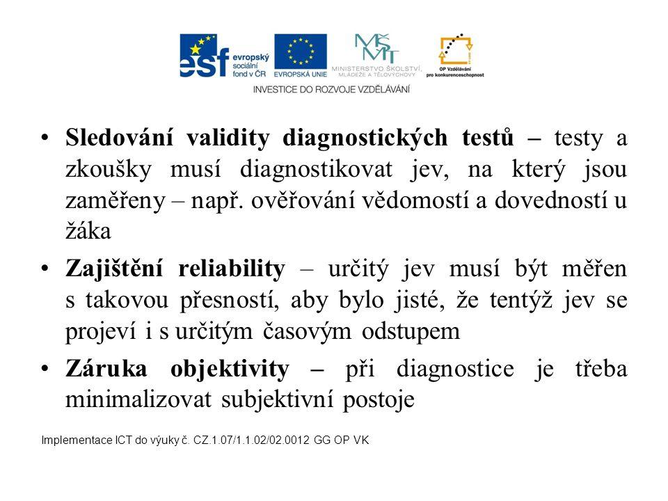 Sledování validity diagnostických testů – testy a zkoušky musí diagnostikovat jev, na který jsou zaměřeny – např.